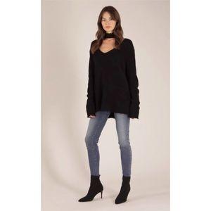 Pistola Women's Nicky V-Neck Long Sleeve Cutout Sweater Distressed Trim and Hem
